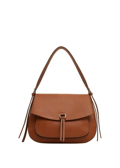 Flap Pebbled Bag - predominant colour: tan; occasions: casual, creative work; type of pattern: standard; style: shoulder; length: shoulder (tucks under arm); size: standard; material: leather; pattern: plain; finish: plain; season: s/s 2016; wardrobe: highlight