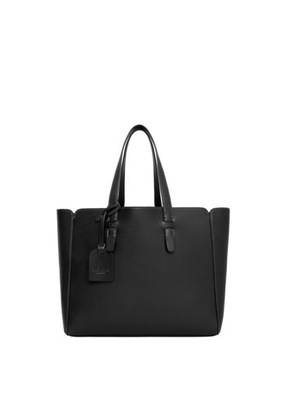 Shopper Bag - predominant colour: black; occasions: casual, creative work; type of pattern: standard; style: tote; length: handle; size: standard; material: leather; pattern: plain; finish: plain; season: s/s 2016; wardrobe: investment
