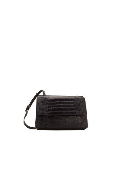 Croc Effect Cross Body Bag - predominant colour: black; type of pattern: standard; style: messenger; length: across body/long; size: small; material: leather; pattern: plain; finish: plain; occasions: creative work; season: s/s 2016; wardrobe: basic