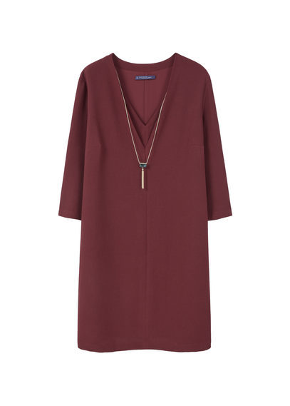 Detachable Necklace Dress - style: shift; neckline: v-neck; pattern: plain; predominant colour: burgundy; occasions: evening; length: on the knee; fit: body skimming; fibres: polyester/polyamide - 100%; sleeve length: long sleeve; sleeve style: standard; texture group: crepes; pattern type: fabric; season: s/s 2016