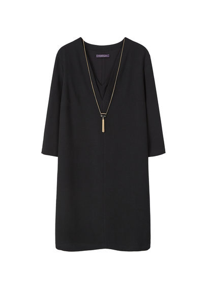 Detachable Necklace Dress - style: shift; neckline: v-neck; pattern: plain; predominant colour: black; occasions: evening; length: just above the knee; fit: body skimming; fibres: polyester/polyamide - 100%; sleeve length: long sleeve; sleeve style: standard; pattern type: fabric; texture group: jersey - stretchy/drapey; season: s/s 2016; wardrobe: event