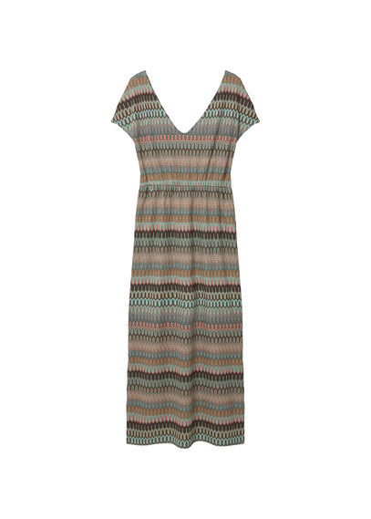 Open Work Dress - neckline: v-neck; pattern: horizontal stripes; style: maxi dress; length: ankle length; hip detail: draws attention to hips; secondary colour: pale blue; predominant colour: light grey; occasions: casual; fit: body skimming; fibres: polyester/polyamide - 100%; sleeve length: short sleeve; sleeve style: standard; pattern type: fabric; texture group: jersey - stretchy/drapey; multicoloured: multicoloured; season: s/s 2016; wardrobe: highlight
