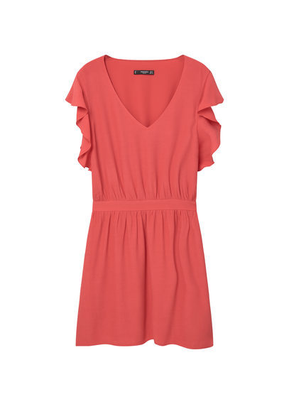 Ruffled Dress - style: shift; length: mid thigh; neckline: v-neck; sleeve style: angel/waterfall; pattern: plain; predominant colour: coral; occasions: casual; fit: body skimming; fibres: viscose/rayon - 100%; sleeve length: short sleeve; pattern type: fabric; texture group: other - light to midweight; season: s/s 2016; wardrobe: highlight