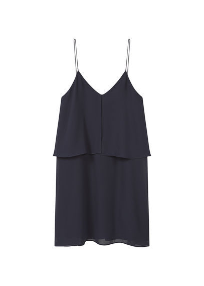 Double Layer Dress - neckline: low v-neck; sleeve style: spaghetti straps; pattern: plain; predominant colour: black; occasions: evening; length: just above the knee; fit: body skimming; style: slip dress; fibres: polyester/polyamide - 100%; sleeve length: sleeveless; texture group: crepes; pattern type: fabric; season: s/s 2016