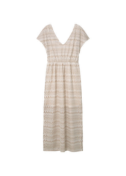 Open Work Dress - neckline: v-neck; pattern: horizontal stripes; style: maxi dress; length: ankle length; predominant colour: nude; occasions: evening; fit: body skimming; fibres: polyester/polyamide - 100%; sleeve length: short sleeve; sleeve style: standard; pattern type: fabric; texture group: jersey - stretchy/drapey; season: s/s 2016; wardrobe: event