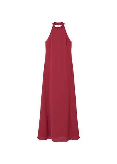 Halter Neck Dress - pattern: plain; sleeve style: sleeveless; style: maxi dress; predominant colour: burgundy; occasions: evening; length: floor length; fit: body skimming; fibres: polyester/polyamide - 100%; sleeve length: sleeveless; pattern type: fabric; texture group: other - light to midweight; season: s/s 2016; neckline: high halter neck
