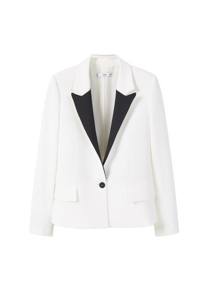 Contrast Lapels Blazer - style: single breasted blazer; collar: standard lapel/rever collar; predominant colour: white; secondary colour: black; occasions: work; length: standard; fit: tailored/fitted; fibres: polyester/polyamide - stretch; sleeve length: long sleeve; sleeve style: standard; collar break: medium; pattern type: fabric; pattern: colourblock; texture group: woven light midweight; multicoloured: multicoloured; season: s/s 2016; wardrobe: investment