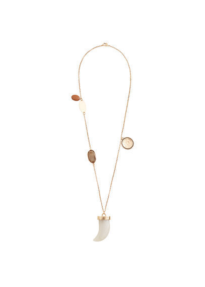 Long Triple Necklace - secondary colour: ivory/cream; predominant colour: gold; occasions: evening; style: pendant; length: mid; size: standard; material: chain/metal; finish: metallic; embellishment: jewels/stone; season: s/s 2016; wardrobe: event