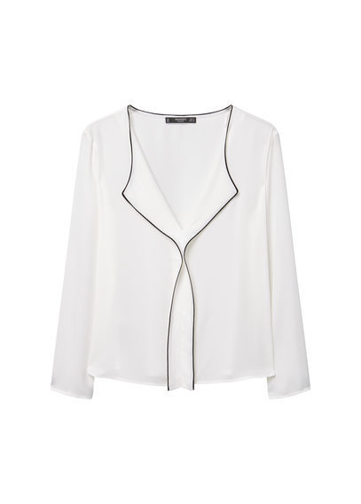 Contrast Trim Blouse - neckline: v-neck; pattern: plain; style: blouse; predominant colour: white; occasions: evening; length: standard; fibres: polyester/polyamide - 100%; fit: body skimming; sleeve length: long sleeve; sleeve style: standard; pattern type: fabric; texture group: other - light to midweight; season: s/s 2016; wardrobe: event