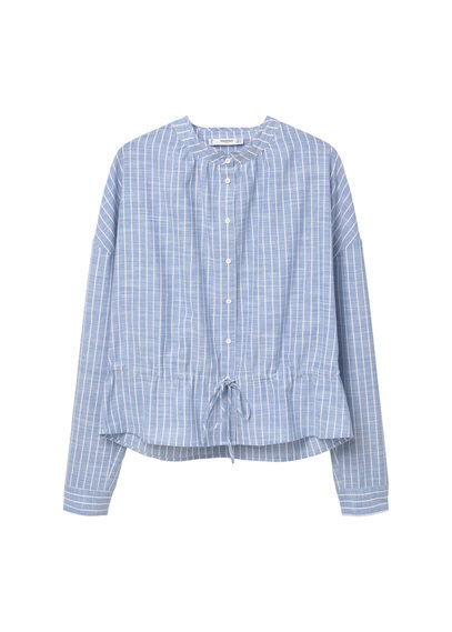 Cotton Shirt - pattern: striped; style: shirt; secondary colour: ivory/cream; predominant colour: pale blue; occasions: casual, creative work; length: standard; neckline: collarstand & mandarin with v-neck; fibres: cotton - 100%; fit: body skimming; sleeve length: long sleeve; sleeve style: standard; texture group: cotton feel fabrics; pattern type: fabric; pattern size: standard; season: s/s 2016; wardrobe: highlight