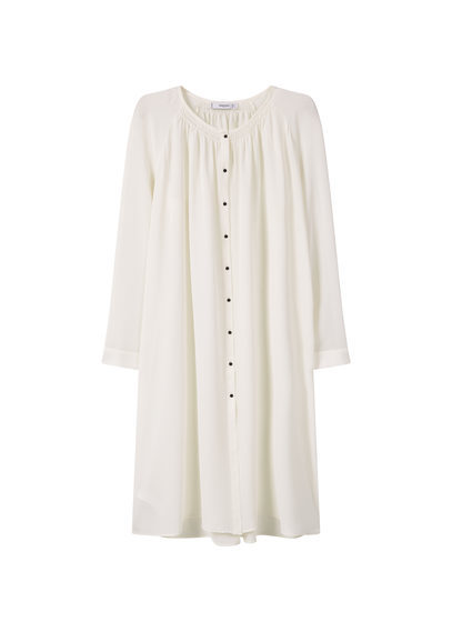 Flowy Blouse - neckline: round neck; pattern: plain; style: blouse; predominant colour: ivory/cream; occasions: casual; fibres: polyester/polyamide - 100%; fit: loose; length: mid thigh; sleeve length: long sleeve; sleeve style: standard; pattern type: fabric; texture group: other - light to midweight; season: s/s 2016