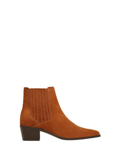 Leather Cowboy Ankle Boots - predominant colour: tan; occasions: casual, creative work; material: suede; heel height: flat; heel: block; toe: pointed toe; boot length: ankle boot; style: standard; finish: plain; pattern: plain; season: s/s 2016; wardrobe: highlight