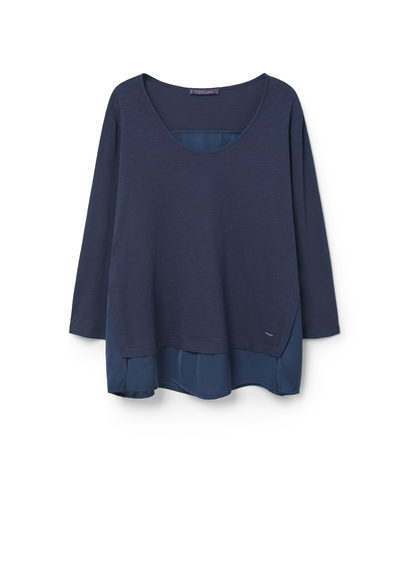 Cotton Modal Blend T Shirt - neckline: round neck; pattern: plain; style: t-shirt; predominant colour: navy; occasions: casual; length: standard; fibres: cotton - 100%; fit: loose; sleeve length: long sleeve; sleeve style: standard; pattern type: fabric; texture group: jersey - stretchy/drapey; season: s/s 2016; wardrobe: basic
