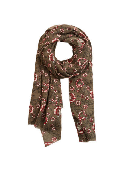 Floral Cotton Scarf - predominant colour: khaki; occasions: casual, creative work; type of pattern: heavy; style: regular; size: standard; material: fabric; pattern: florals; secondary colour: raspberry; season: s/s 2016; wardrobe: highlight