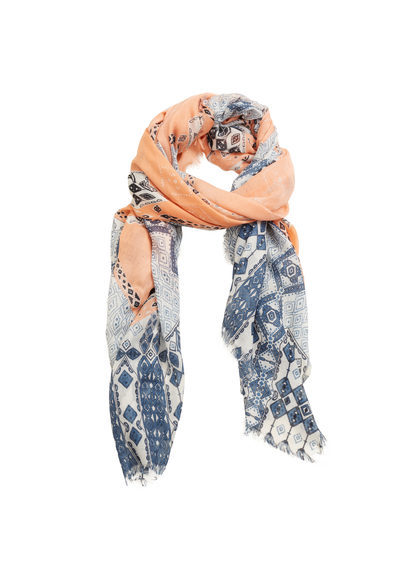 Contrasting Print Scarf - predominant colour: denim; secondary colour: coral; occasions: casual, creative work; type of pattern: standard; style: regular; size: standard; material: fabric; pattern: patterned/print; multicoloured: multicoloured; season: s/s 2016; wardrobe: highlight
