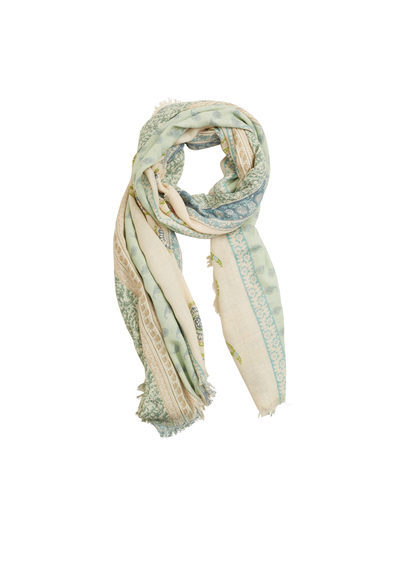 Paisley Print Scarf - predominant colour: ivory/cream; secondary colour: pistachio; occasions: casual, creative work; type of pattern: standard; style: regular; size: standard; material: fabric; pattern: patterned/print; multicoloured: multicoloured; season: s/s 2016; wardrobe: highlight