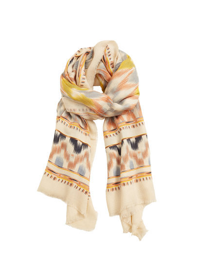 Contrasting Print Scarf - secondary colour: camel; predominant colour: nude; occasions: casual, creative work; type of pattern: standard; style: regular; size: standard; material: fabric; pattern: patterned/print; multicoloured: multicoloured; season: s/s 2016; wardrobe: highlight