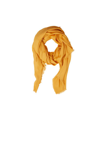 Cotton Scarf - predominant colour: mustard; occasions: casual, creative work; type of pattern: standard; style: regular; size: standard; material: fabric; pattern: plain; season: s/s 2016; wardrobe: highlight