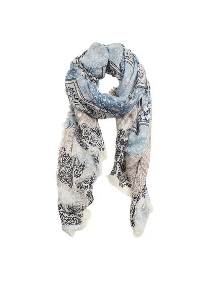 Floral Print Scarf - predominant colour: ivory/cream; secondary colour: pale blue; occasions: casual, creative work; type of pattern: heavy; style: regular; size: standard; material: fabric; pattern: florals; season: s/s 2016; wardrobe: highlight