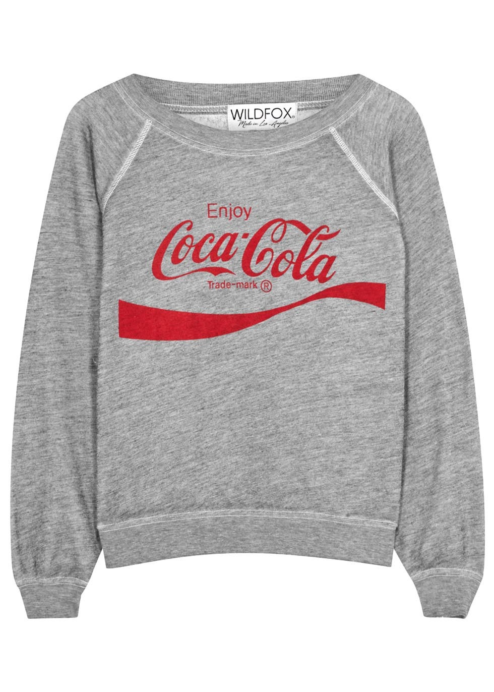 Coca Cola Kim's Printed Jersey Sweatshirt - neckline: round neck; style: sweat top; secondary colour: true red; predominant colour: light grey; occasions: casual; length: standard; fibres: polyester/polyamide - mix; fit: body skimming; sleeve length: long sleeve; sleeve style: standard; pattern type: fabric; texture group: jersey - stretchy/drapey; pattern: graphic/slogan; multicoloured: multicoloured; season: s/s 2016; wardrobe: highlight