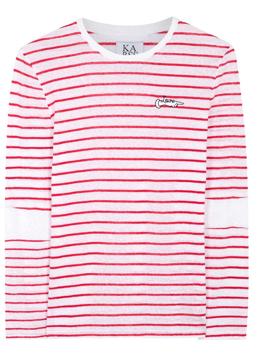 Love Striped Cotton Blend Top - pattern: horizontal stripes; style: t-shirt; predominant colour: white; secondary colour: hot pink; occasions: casual; length: standard; fibres: cotton - mix; fit: body skimming; neckline: crew; sleeve length: long sleeve; sleeve style: standard; texture group: jersey - clingy; pattern type: fabric; multicoloured: multicoloured; season: s/s 2016; wardrobe: highlight