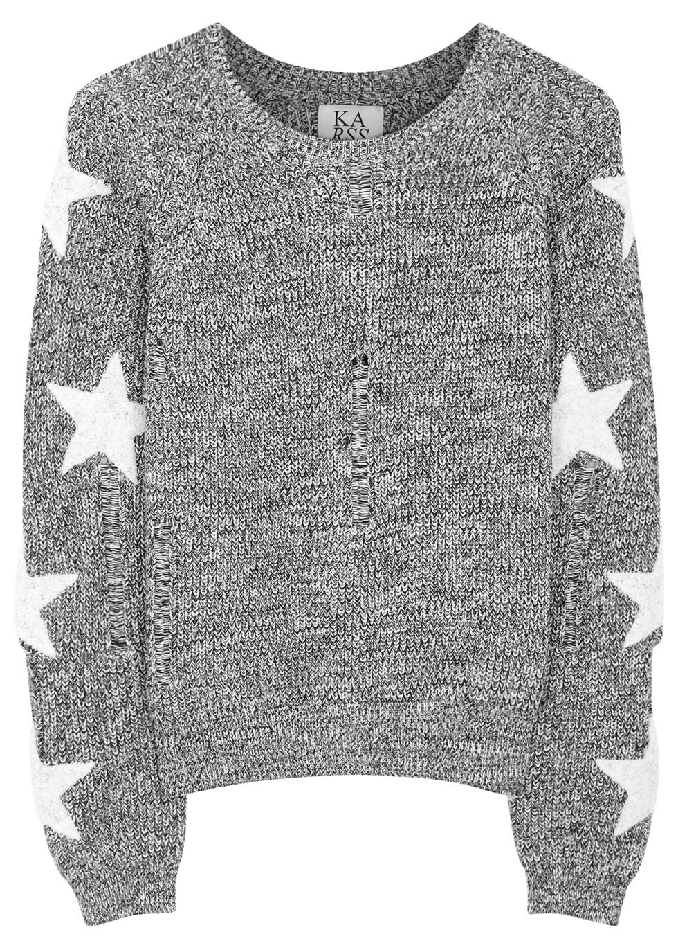 Grey Bouclé Star Cotton Jumper - neckline: round neck; style: standard; secondary colour: white; predominant colour: mid grey; occasions: casual, creative work; length: standard; fibres: cotton - 100%; fit: standard fit; sleeve length: long sleeve; sleeve style: standard; texture group: knits/crochet; pattern type: knitted - other; pattern size: standard; pattern: patterned/print; season: s/s 2016; wardrobe: highlight
