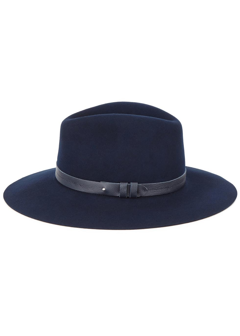Navy Wool Felt Fedora - predominant colour: navy; occasions: casual; type of pattern: standard; embellishment: ribbon; style: fedora; size: standard; material: felt; pattern: plain; season: s/s 2016; wardrobe: highlight