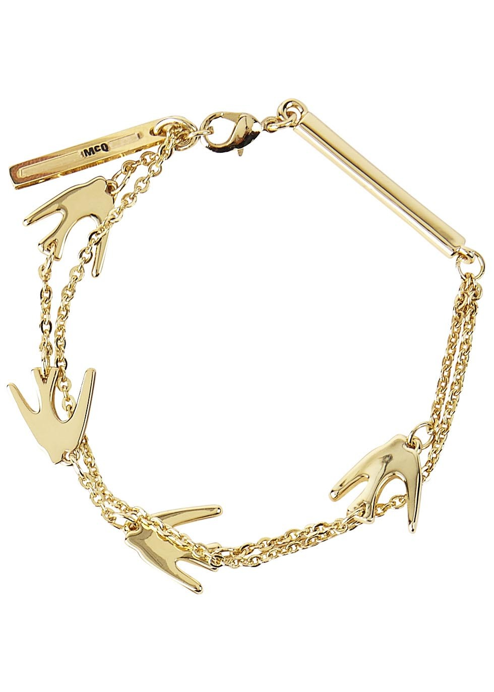 Gold Tone Swallow Bracelet - predominant colour: gold; occasions: casual, creative work; style: bangle/standard; size: standard; material: chain/metal; finish: metallic; season: s/s 2016
