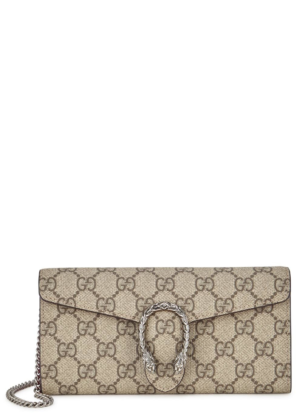 Dionysus Monogrammed Canvas Clutch - predominant colour: stone; secondary colour: silver; occasions: evening, occasion; type of pattern: standard; style: clutch; length: hand carry; size: standard; material: fabric; finish: plain; pattern: patterned/print; season: s/s 2016