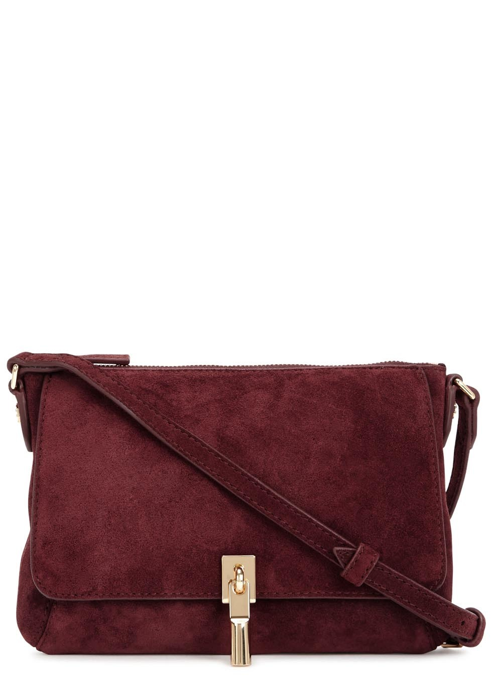 Cynnie Micro Burgundy Suede Cross Body Bag - predominant colour: burgundy; occasions: casual, creative work; type of pattern: standard; style: shoulder; length: across body/long; size: standard; material: suede; pattern: plain; finish: plain; season: s/s 2016; wardrobe: highlight