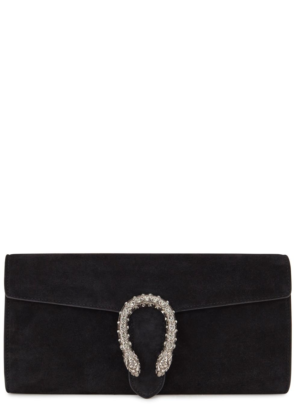 Dionysus Black Suede Clutch - secondary colour: silver; predominant colour: black; occasions: evening, occasion; type of pattern: standard; style: clutch; length: hand carry; size: small; material: suede; pattern: plain; finish: plain; season: s/s 2016; wardrobe: event