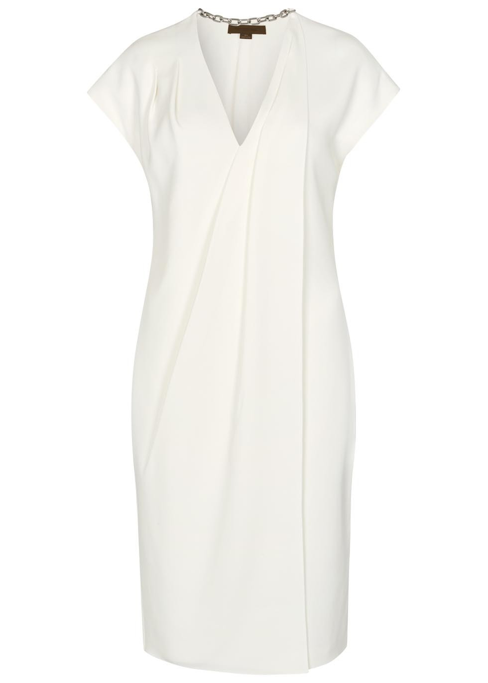 Off White Wrap Effect Dress - style: faux wrap/wrap; neckline: v-neck; sleeve style: capped; pattern: plain; predominant colour: white; occasions: evening; length: on the knee; fit: body skimming; fibres: viscose/rayon - stretch; sleeve length: short sleeve; pattern type: fabric; texture group: other - light to midweight; season: s/s 2016; wardrobe: event
