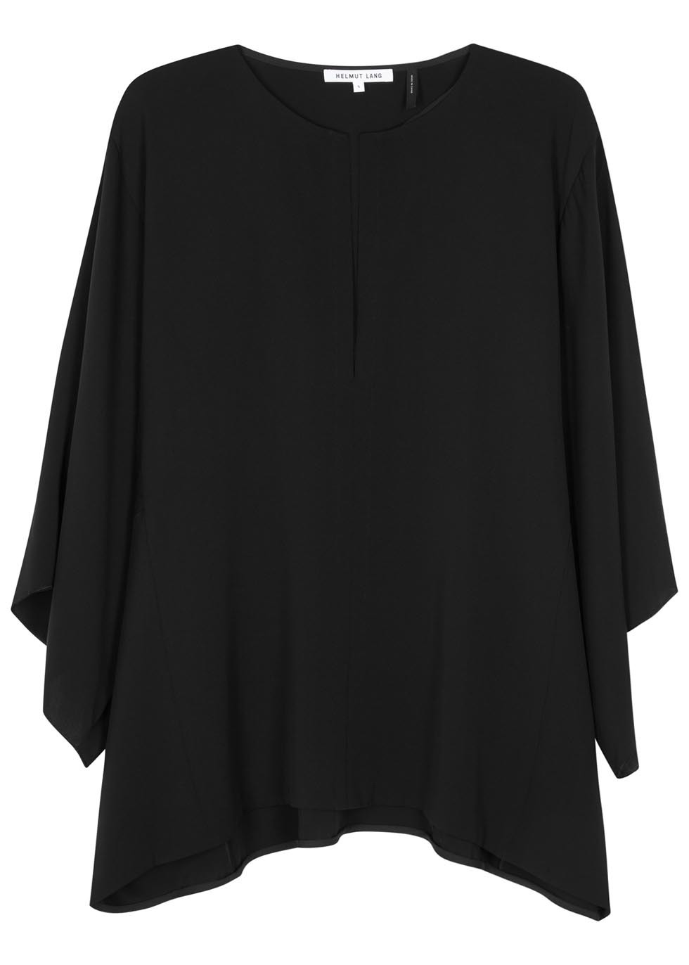 Black Silk Georgette Top - pattern: plain; predominant colour: black; occasions: evening; length: standard; style: top; fibres: silk - 100%; fit: body skimming; neckline: crew; sleeve length: long sleeve; sleeve style: standard; texture group: sheer fabrics/chiffon/organza etc.; pattern type: fabric; season: s/s 2016; wardrobe: event