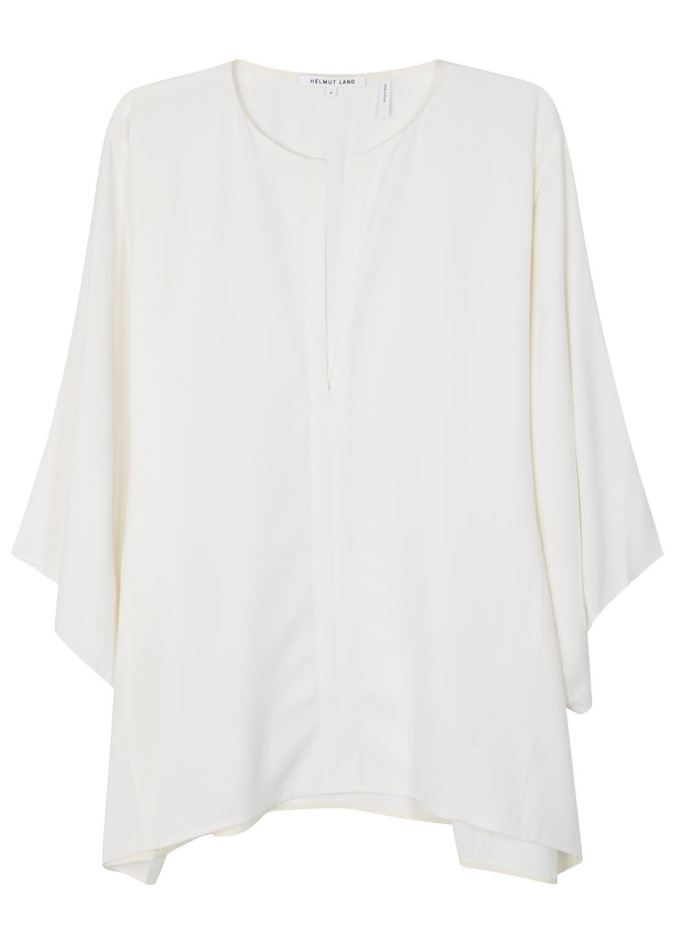 Ivory Silk Georgette Top - pattern: plain; style: blouse; predominant colour: white; occasions: casual; length: standard; fibres: silk - 100%; fit: loose; neckline: crew; sleeve length: long sleeve; sleeve style: standard; texture group: sheer fabrics/chiffon/organza etc.; pattern type: fabric; season: s/s 2016; wardrobe: basic