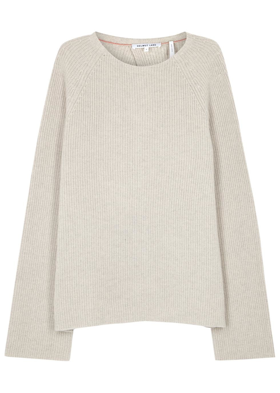 Stone Open Back Cotton Blend Jumper - pattern: plain; style: standard; predominant colour: ivory/cream; occasions: casual; length: standard; fibres: cotton - mix; fit: slim fit; neckline: crew; sleeve length: long sleeve; sleeve style: standard; texture group: knits/crochet; pattern type: knitted - fine stitch; season: s/s 2016; wardrobe: basic