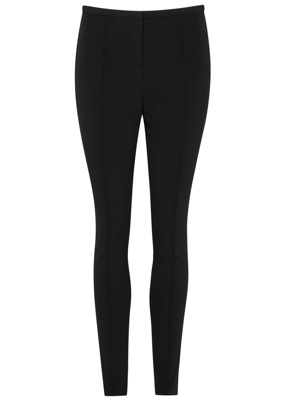 Black Skinny Trousers - length: standard; pattern: plain; waist: mid/regular rise; predominant colour: black; occasions: evening, creative work; fibres: polyester/polyamide - 100%; texture group: crepes; fit: skinny/tight leg; pattern type: fabric; style: standard; season: s/s 2016; wardrobe: basic