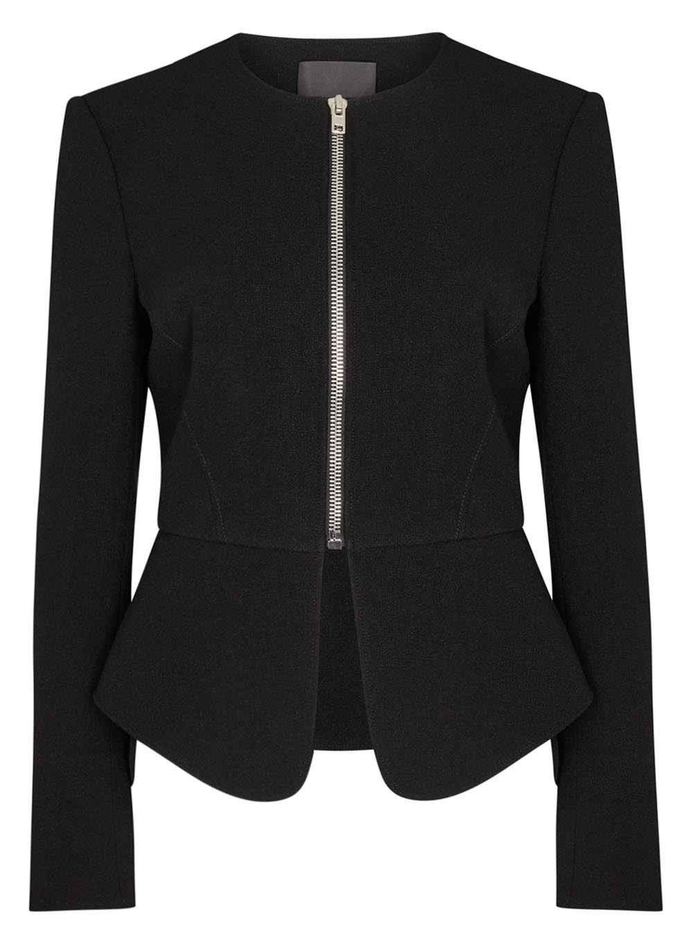 Black Peplum Jacket - pattern: plain; style: single breasted blazer; collar: round collar/collarless; predominant colour: black; occasions: evening; length: standard; fit: tailored/fitted; fibres: polyester/polyamide - 100%; sleeve length: long sleeve; sleeve style: standard; collar break: high; pattern type: fabric; texture group: woven light midweight; season: s/s 2016