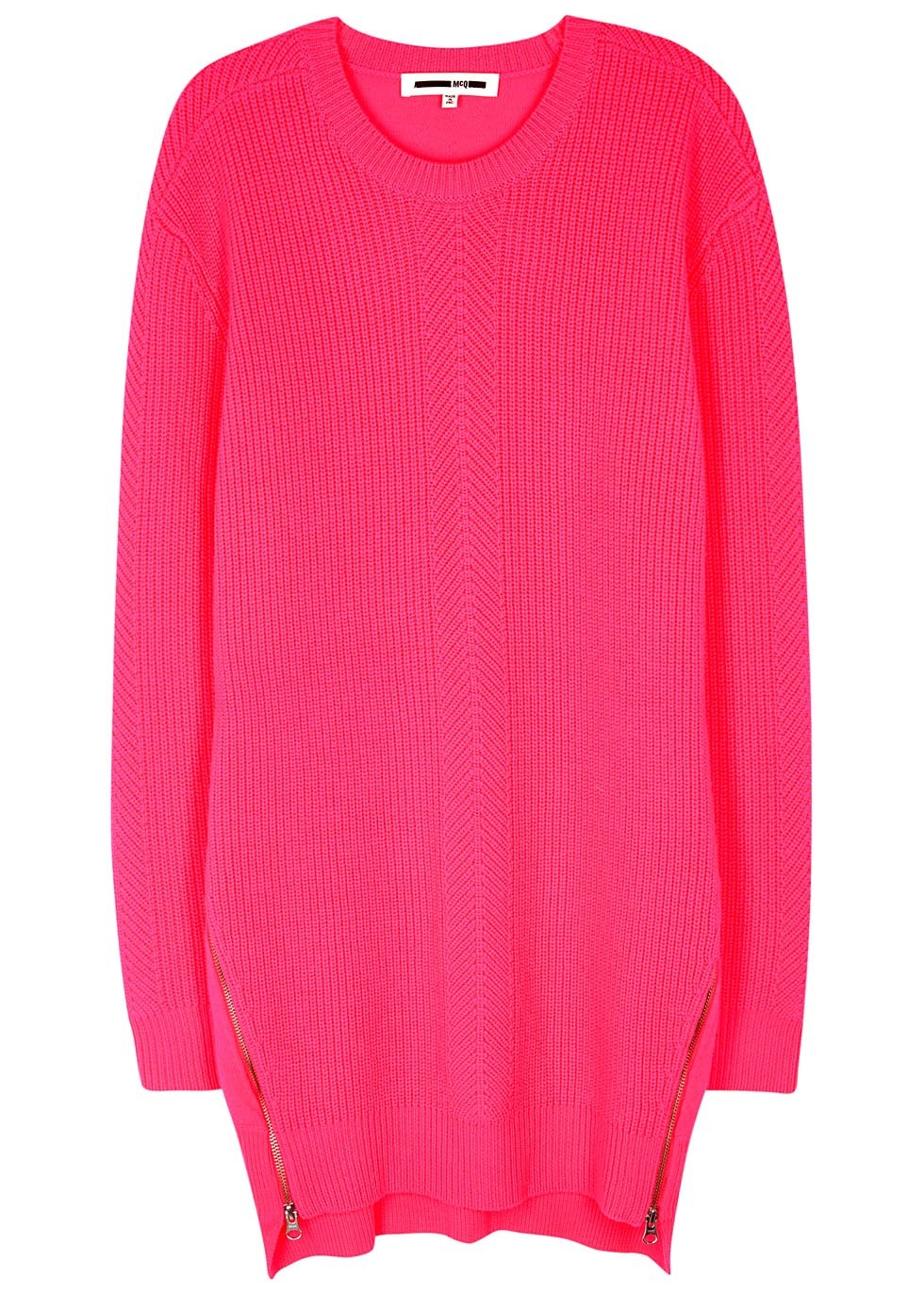 Pink Ribbed Wool Jumper Dress - style: jumper dress; length: mid thigh; fit: loose; pattern: plain; predominant colour: hot pink; occasions: casual; fibres: wool - 100%; neckline: crew; sleeve length: long sleeve; sleeve style: standard; texture group: knits/crochet; pattern type: knitted - fine stitch; season: s/s 2016; wardrobe: highlight