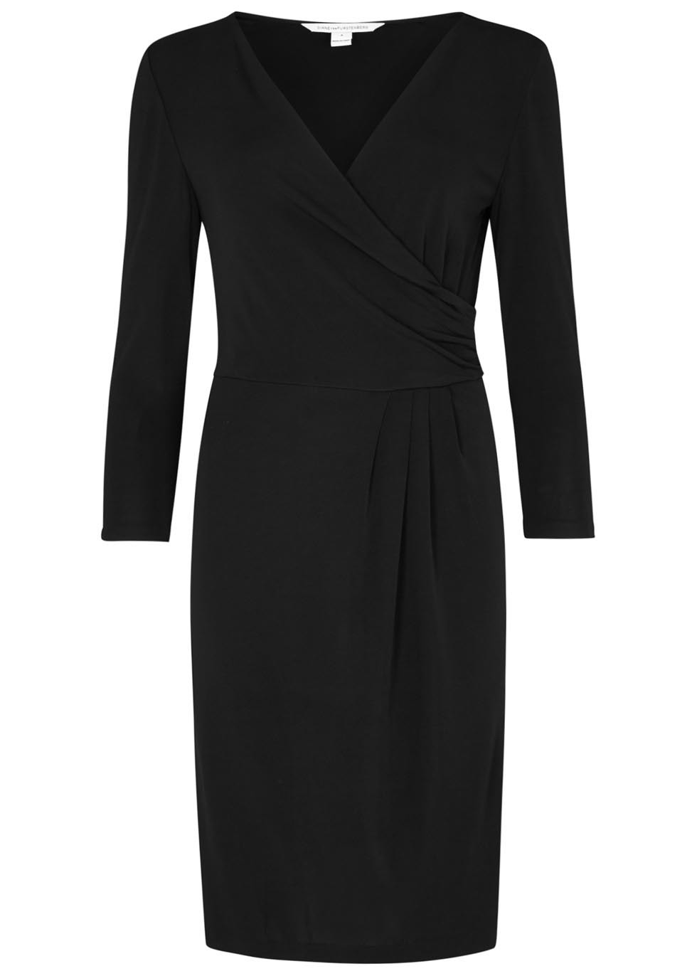 Calista Black Wrap Effect Jersey Dress - style: faux wrap/wrap; neckline: v-neck; pattern: plain; predominant colour: black; occasions: evening; length: just above the knee; fit: body skimming; fibres: viscose/rayon - 100%; sleeve length: 3/4 length; sleeve style: standard; pattern type: fabric; texture group: jersey - stretchy/drapey; season: s/s 2016; wardrobe: event