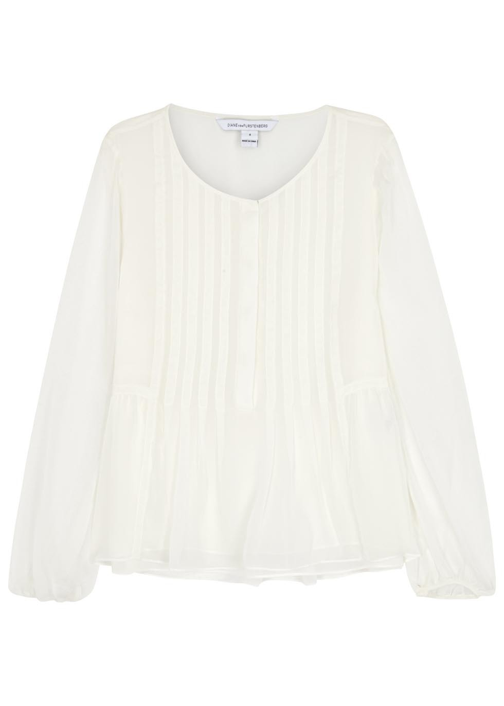 Jayne Ivory Pintucked Silk Chiffon Blouse - neckline: v-neck; pattern: plain; style: blouse; predominant colour: ivory/cream; occasions: evening; length: standard; fibres: silk - 100%; fit: body skimming; sleeve length: long sleeve; sleeve style: standard; texture group: sheer fabrics/chiffon/organza etc.; pattern type: fabric; season: s/s 2016