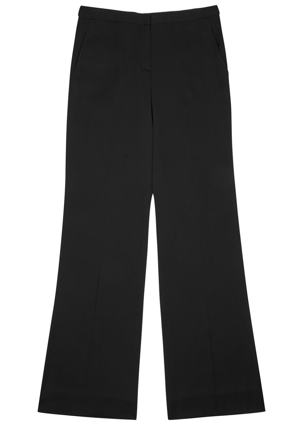 Katara Black Wide Leg Silk Trousers - length: standard; pattern: plain; style: palazzo; waist: mid/regular rise; predominant colour: black; occasions: evening, creative work; fibres: silk - mix; texture group: crepes; fit: wide leg; pattern type: fabric; season: s/s 2016; wardrobe: basic