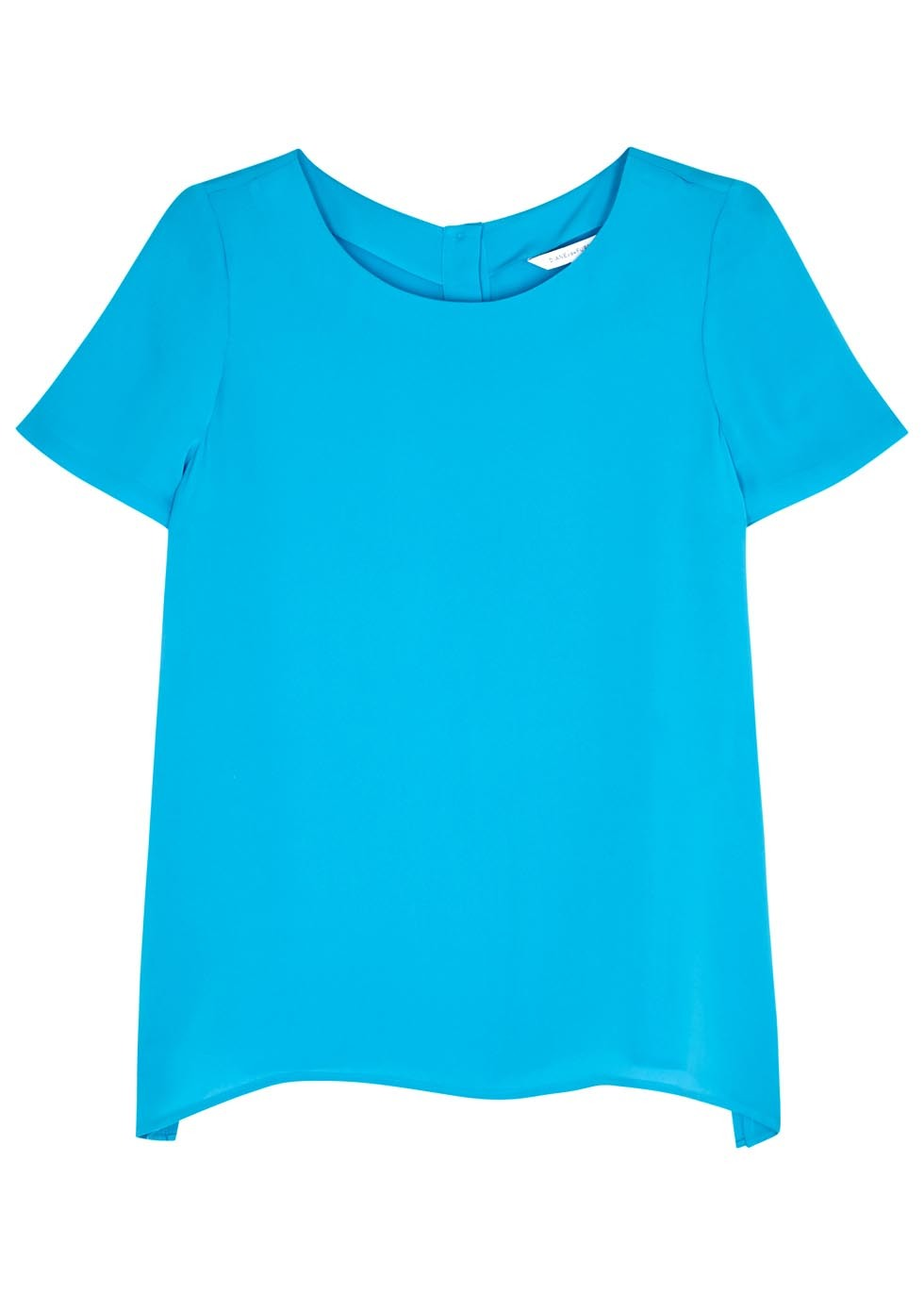 Maggy Bright Blue Silk Top - pattern: plain; predominant colour: diva blue; occasions: evening; length: standard; style: top; fibres: silk - 100%; fit: body skimming; neckline: crew; sleeve length: short sleeve; sleeve style: standard; texture group: silky - light; pattern type: fabric; season: s/s 2016; wardrobe: event