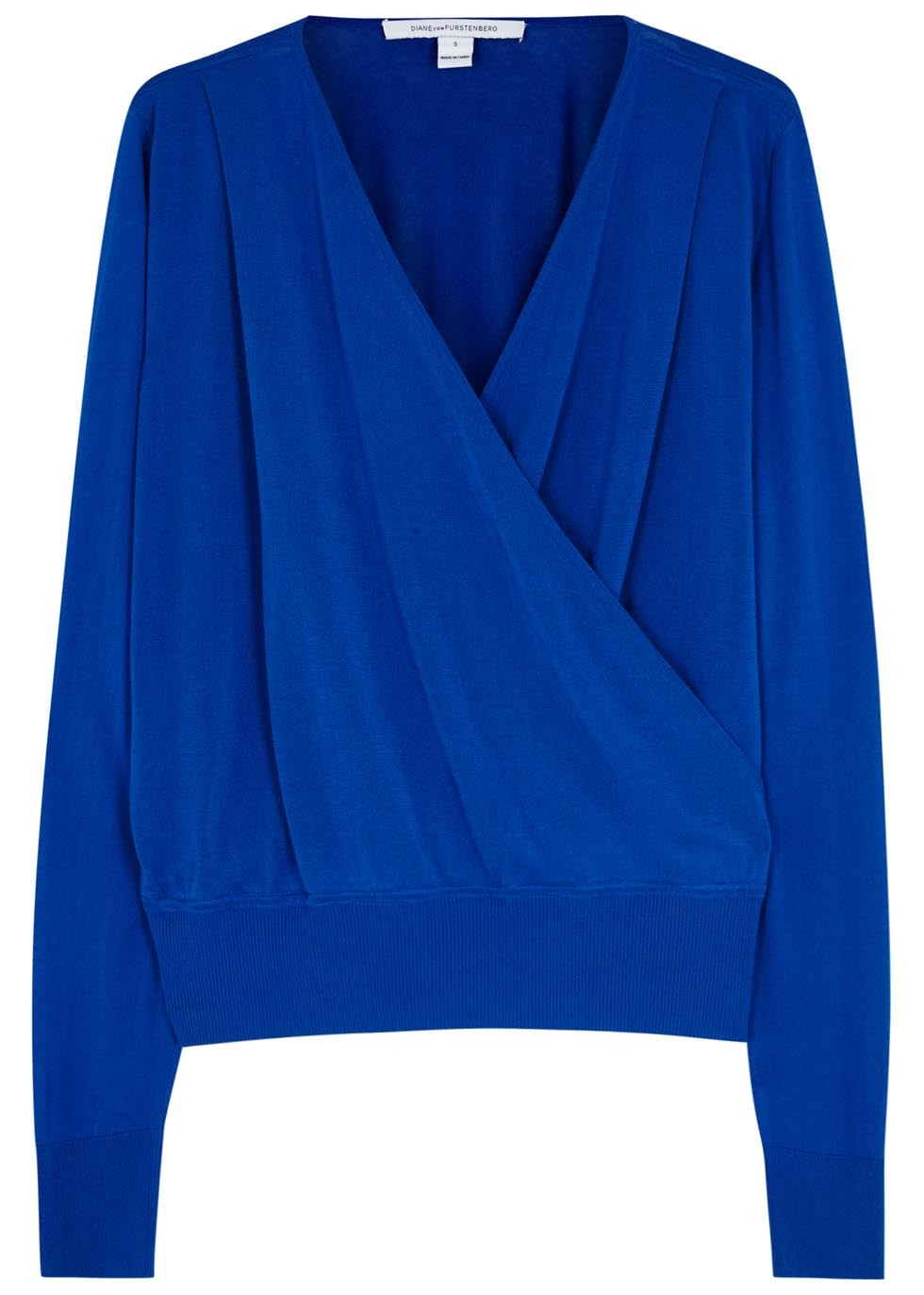 Paz Blue Wrap Effect Fine Knit Jumper - neckline: v-neck; pattern: plain; style: faux wrap/wrap; predominant colour: royal blue; occasions: evening; length: standard; fibres: cotton - mix; fit: standard fit; sleeve length: long sleeve; sleeve style: standard; texture group: knits/crochet; pattern type: fabric; season: s/s 2016; wardrobe: event
