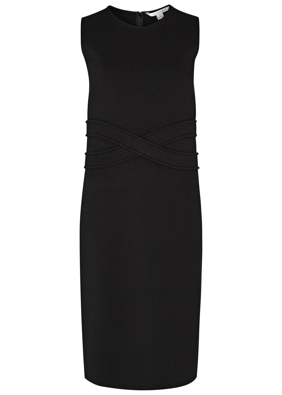 Evita Black Scuba Shift Dress - style: shift; pattern: plain; sleeve style: sleeveless; predominant colour: black; occasions: evening; length: just above the knee; fit: body skimming; neckline: crew; sleeve length: sleeveless; pattern type: fabric; texture group: other - light to midweight; fibres: viscose/rayon - mix; season: s/s 2016; wardrobe: event