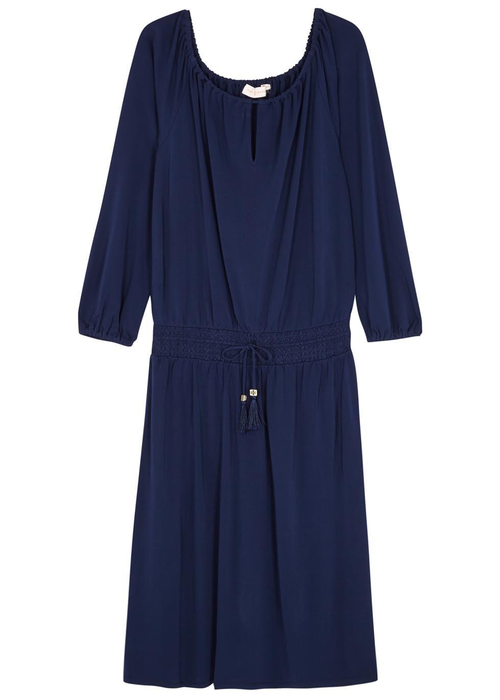 Kara Navy Smocked Jersey Dress - style: shift; neckline: round neck; fit: fitted at waist; pattern: plain; waist detail: belted waist/tie at waist/drawstring; predominant colour: navy; occasions: casual, creative work; length: just above the knee; fibres: viscose/rayon - 100%; sleeve length: 3/4 length; sleeve style: standard; pattern type: fabric; texture group: jersey - stretchy/drapey; season: s/s 2016; wardrobe: basic
