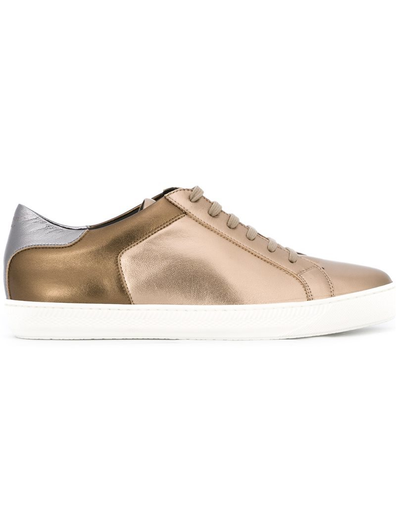 Paneled Metallic (Grey) Sneakers, Women's, Size: 39 - secondary colour: white; predominant colour: gold; occasions: casual, creative work; material: leather; heel height: flat; toe: round toe; style: trainers; finish: metallic; pattern: plain; season: s/s 2016