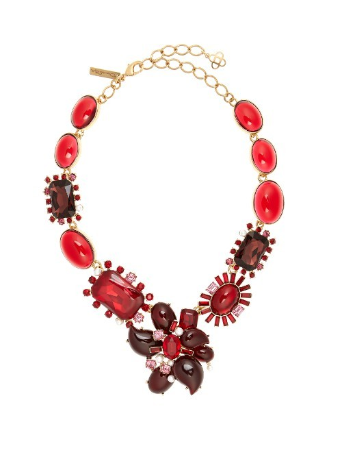 Floral Crystal Embellished Necklace - predominant colour: true red; secondary colour: burgundy; occasions: evening, occasion; length: short; size: large/oversized; material: chain/metal; finish: metallic; embellishment: jewels/stone; style: bib/statement; season: s/s 2016; wardrobe: event