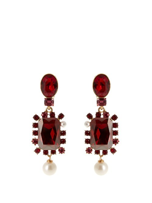 Crystal Embellished Earrings - secondary colour: ivory/cream; predominant colour: burgundy; occasions: evening; style: drop; length: long; size: large/oversized; material: chain/metal; fastening: pierced; finish: metallic; embellishment: crystals/glass; multicoloured: multicoloured; season: s/s 2016; trends: vintage chic