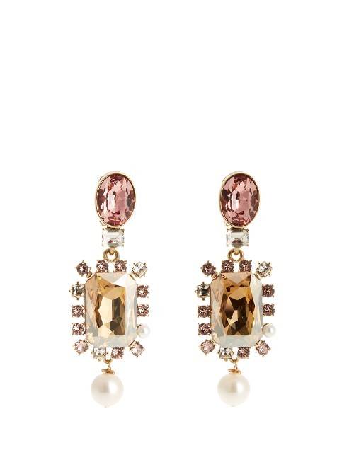 Crystal Embellished Earrings - predominant colour: blush; secondary colour: gold; occasions: evening; style: drop; length: long; size: large/oversized; material: chain/metal; fastening: pierced; finish: metallic; embellishment: crystals/glass; multicoloured: multicoloured; season: s/s 2016; trends: shiny surfaces; wardrobe: event