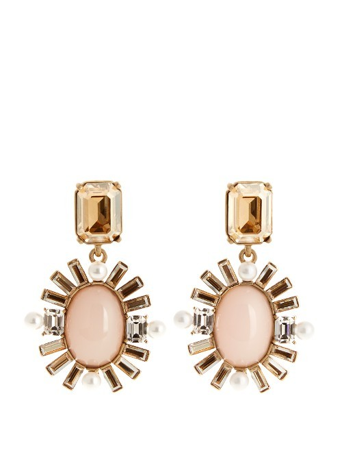 Oval Crystal Embellished Earrings - secondary colour: blush; predominant colour: gold; occasions: evening; style: drop; length: mid; size: large/oversized; material: chain/metal; fastening: pierced; finish: metallic; embellishment: crystals/glass; multicoloured: multicoloured; season: s/s 2016; wardrobe: event